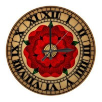 Red Rose Of Lancaster Round Wallclock from Zazzle.com