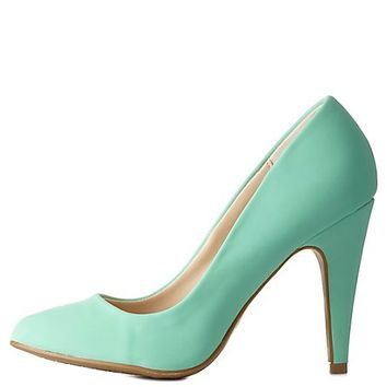 Single Sole Pointed Toe Pumps by Charlotte Russe - Mint