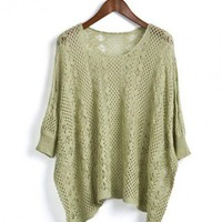 Green 3/4 Length Sleeve Hollow Sweater$40.00
