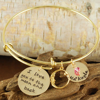 Love you to the Moon and Back - Gold Bangle Charm Bracelet - Alex and Ani Inspired-1-1