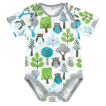 DwellStudio Kids Layette Shortsleeve Bodysuit Owls Sky