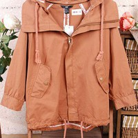 Brown Cotton Drawstring Hooded Trench Coat $44.00