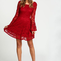 Burgundy Lacy Bell Sleeves Flare Dress