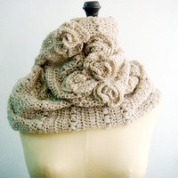 Beige Ecru Crochet Cowl Infinity Circle Loop Scarf with Roses