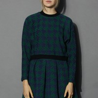 Houndstooth Quilted Sweat Top in Green Green S/M