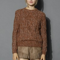 White Dots Cable Knit Sweater in Tan Brown S/M