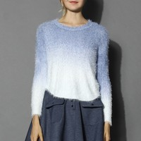 Soft Blue Ombre Mohair Sweater Blue S/M