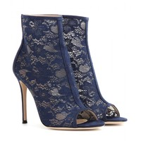 gianvito rossi - lace open-toe ankle boots