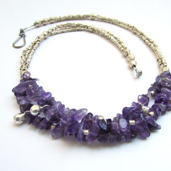 Amethyst Purple Strand Necklace, Chunky Layred Beaded Eco Friendly Earthy Natural Boho Chic Jewelry