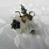 Victorian Flower Earrings - Lucite, Dark Blue Glass, Montana Blue Swarovski Crystals, Antique Brass