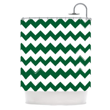 "KESS Original ""Candy Cane Green"" Chevron Shower Curtain - 69"" x 70"" / Polyester"