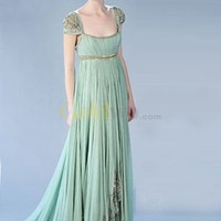 [US$244.99] Gossip Girl Fashion Cap Sleeves Empire Waist Satin Chiffon Maxi Celebrity Dress