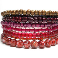 Memory Wire Bracelet Autumn Reds Burgundy and Ruby Stacking Bracelet