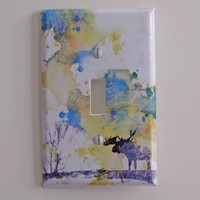 Moose Art Decorative Light Switch Plate Cover Made by idillard
