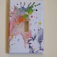 Flying Chickadee Bird Art Decorative Light Switch by idillard