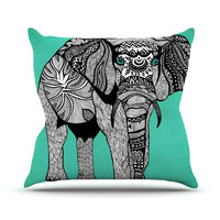 """Pom Graphic Design """"Elephant of Namibia Color"""" Outdoor Throw Pillow"""