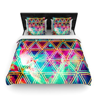 """Caleb Troy """"Neon Triangle Galaxy"""" Map Woven Duvet Cover - Woven /"""