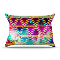 """Caleb Troy """"Neon Triangle Galaxy"""" Map Pillow Case"""