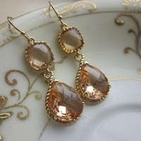 Champagne Earrings Peach Gold Earri.. on Luulla