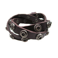 Punk Rock Style Couple Bracelet Women  chocolate Leather Bangle Men Leather Bracelet SL0367