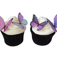 24 Edible Butterflies -  Prettiest Purple - Cupcake Toppers - Cake Decorations - Wedding Cake - Bridal Shower - Birthday - Butterfly