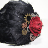 Black feathered gears and red rose head band