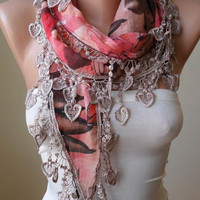 Coral - Pink and Brown Scarf with Trim Edge -
