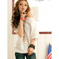 White Short Bat Sleeves Short Asymmetrical Cotton Blouse Top@T2067w