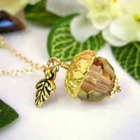 Gold Leaf Acorn Light Topaz Swarovski Crystal Charm Necklace