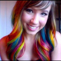 24 Inches Long - Mulit-Color Full SEt- Clip In Extensions/ 4 two inch wide clip in extensions/ Neon Rainbow