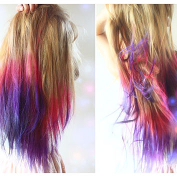 P U R P L E - E R P E L  KUSH///Hair Extension - -Dip Dyed - Weft Clip Extensions - Ombre - Free People -18 in REAL HAIR