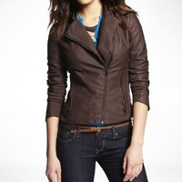 (MINUS THE) LEATHER CLEAN SEAM ASYMMETRICAL JACKET at Express