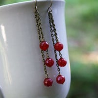 Faceted Ruby Earrings on Antique Brass Genuine AAA Ruby Earrings