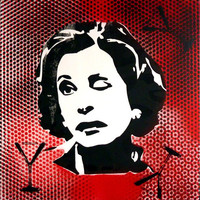 Large Lucille Bluth Red Dots Pop Art painting 16 by PeachyApricot