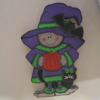 Halloween Wood Witch with Pumpkin and Bat Shelf Sitter
