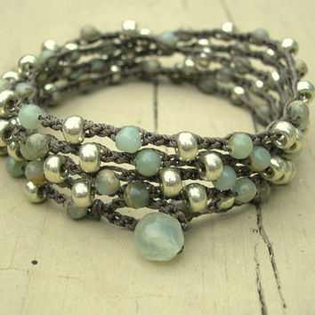 Bohemian beaded wrap bracelet - Driftwood - Boho crocheted jewelry, long necklace, aqua terra jasper, silver, aqua