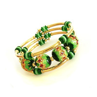 Green, Gold Memory Wire Bracelet, Handmade Jewelry