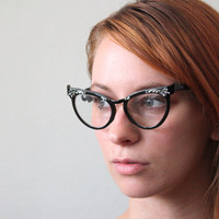 vintage 1950's starburst cat eye glasses by Thrush on Etsy