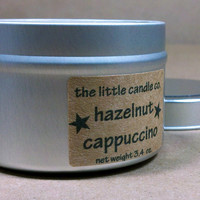 Soy Candle Tin: Hazelnut Cappuccino Scented Container Candles