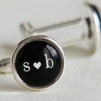 You Heart Me Cufflinks  Your choice of Initials by WaxwingJewelry