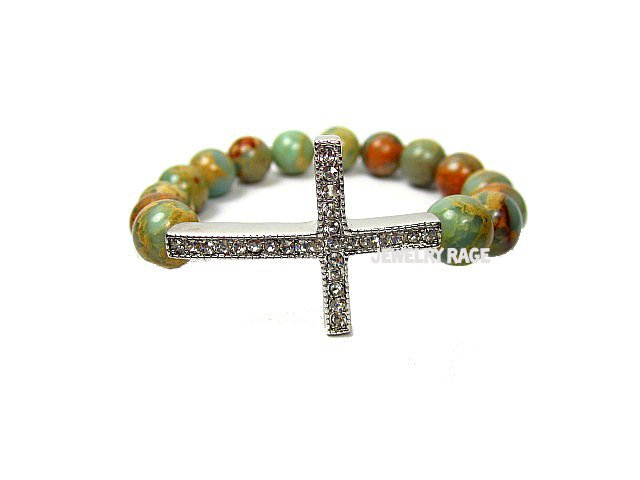 Sideways Cross Bracelet With Impression Jasper