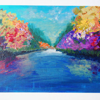 SALE - Lovely Abstract Landscape Painting, FREE Shipping, River Water Theme, Autumn 2012 Fall Gift, Home Decor Original Acrylic Bold Colours