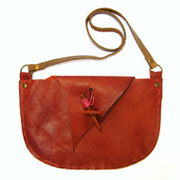 Autumn Fall, Hand Stitched Shoulder Bag Purse in Rusty Orange Leather with Cinnamon Stick Closure,OOAK