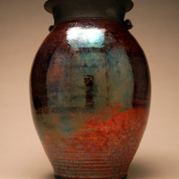 Large Raku Vase - Raku Pottery - Copper Vase - Metallic - Handmade Art