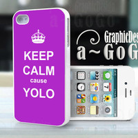 iPhone 4 case,  Keep Calm cause Yolo Purple, custom cell phone case, Original design