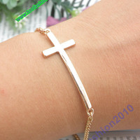 SALE Pretty retro gold cross hand chain bracelet pendant jewelry punk style
