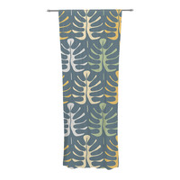 "Julia Grifol ""My Leaves on Blue"" Decorative Sheer Curtain - 30"" x 84"""