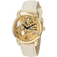 Akribos XXIV Women&#x27;s AKR431YG Gold Swiss Automatic Skeleton Watch - designer shoes, handbags, jewelry, watches, and fashion accessories | endless.com