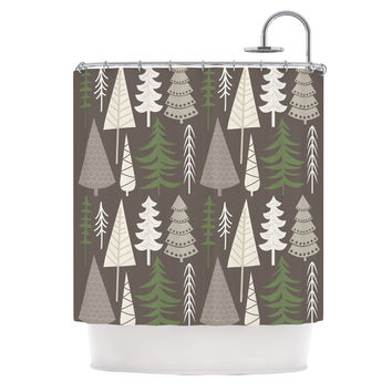 "KESS Original ""Happy Forest Brown"" Green Shower Curtain - 69"" x 70"" / Polyester"