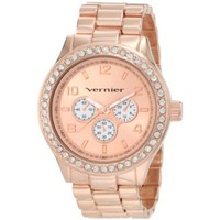 Vernier Women's VNR11088RG Chrono Look Glitz Bracelet Quartz Watch - designer shoes, handbags, jewelry, watches, and fashion accessories | endless.com